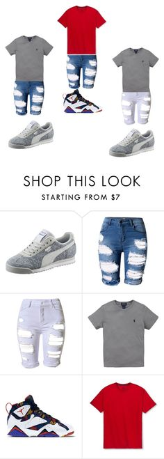 """""""Untitled #29"""" by kvanhine ❤ liked on Polyvore featuring Puma, Topshop, Ralph Lauren and Fruit of the Loom"""