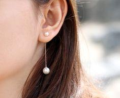 Pearl Earrings Pearl Chain Earring Pearl by SerendipityinSeoul