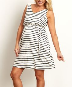 Look at this PinkBlush White Striped Sash Tie Draped Back Maternity Dress on #zulily today!
