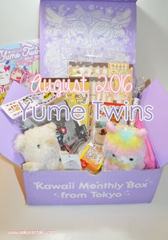 The August 2016 Yume Twins kawaii box review is here! This new monthly…  Yume Twins | Tokyo Treat | Kawaii | Cute | Subscription Box | Review | Japan | Alpacasso | Monster Hunter | Pom Pom Purin | Gudetama | Neko Atsume | Hello Kitty | Shinada Plush | Unboxing |