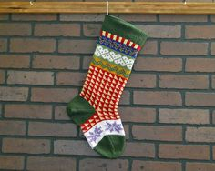Hand Knit Christmas Stocking in Green Fair Isle by CustomBearHugs