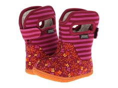 Bogs Baby Bogs Flower Stripes in Cranberry pull on all weather waterproof boot for toddlers