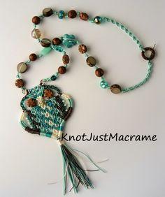 Micro macrame owl pendant necklace by Sherri Stokey of Knot Just Macrame.