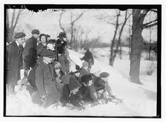 Kids coasting in Central Park, ca. 1910-1915