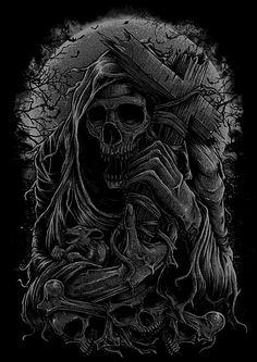 Skull Artwork, Skull Painting, Metal Artwork, Leo Tattoos, Skull Tattoos, Sleeve Tattoos, Grim Reaper Art, Don't Fear The Reaper, Arte Horror