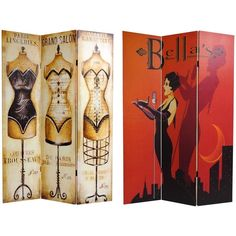 Section off private areas of your home with an art-deco inspired canvas room divider. Each divider is double-sided and features a free-standing wooden frame and detailed, poster-themed canvas on each side, making it the most unique piece in your home.