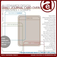 Ali Edwards (DesignerDigitals) - Small Journal Card Overlays