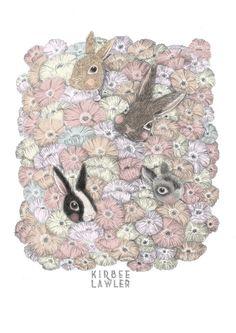 Poppy Bunnies A4 Open Edition Illustration Print by kirbeeart