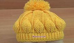 How to Crochet Beanie Hat With Leaves Tutorial 146 Virkkaa hattu - Watch Video Bonnet Crochet, Crochet Beanie Hat, Crochet Shawl, Beanie Hats, Crochet Stitches, Free Crochet, Knitted Hats, Knit Crochet, Ravelry Crochet