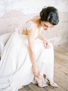 Pretty lace strap gown: http://www.stylemepretty.com/virginia-weddings/leesburg/2016/05/30/wine-crepes-and-lavender-all-things-french-live-in-this-provencal-wedding-inspiration/ | Photography:Alicia Lacey Photography - http://alicialaceyphotography.com/