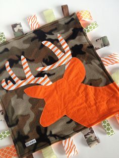 Hey, I found this really awesome Etsy listing at https://www.etsy.com/listing/91456508/minky-fleece-hunter-tag-blanket-deer-on