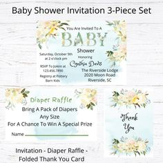 Custom Baby Shower Invitation 3 Piece Set - Baby Shower Invite - Diaper Raffle - Folded Thank You Card - Printable Download Custom Baby Shower Invitations, Personalized Invitations, Diaper Raffle, You Are Invited, Pottery Barn Kids, Pattern Paper, Special Day, Thank You Cards, 3 Piece
