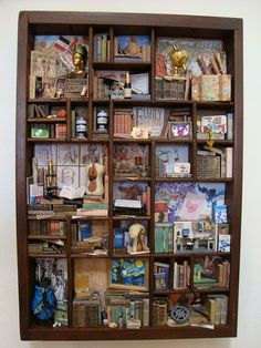 """an abundance of images! wish I'd made this (artist's tag: """"Reserved for Angie Miniature Library miniature thematic customized:"""") Vitrine Miniature, Miniature Dolls, Mixed Media Boxes, Printers Drawer, Shadow Box Art, Found Object Art, Mini Things, Assemblage Art, Miniture Things"""