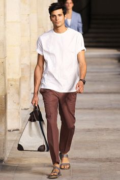 Hermès Spring 2014 Menswear Collection Slideshow on Style.com - the shirt, rolled up sleeves. Sandals. Perfect