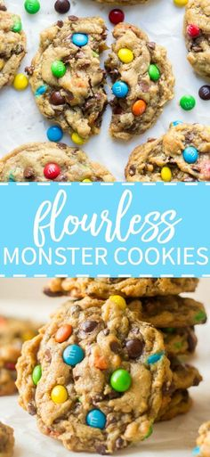 Thick and chewy these flourless monster cookies are so easy to make. They require only one bowl and are filled with your favorite monster cookie ingredients. Gluten free options are super easy to add and the flavor is out of this world. - April 13 2019 at Oreo Dessert, Dessert Sans Gluten, Bon Dessert, Appetizer Dessert, Flourless Desserts, Köstliche Desserts, Healthy Desserts, Delicious Desserts, Flourless Chocolate