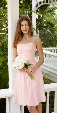 Lauren Ralph Lauren Wedding: Bridesmaids look beautiful in strapless dresses and the perfect shade of blush.