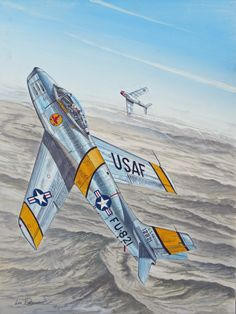 """El Mayor Frederick """"Boots"""" Blesse (10 victorias) fue un as de la USAF durante la Guerra de Corea y el autor del manual de tácticas aéreas llamado """"¡Sin Agallas no hay Gloria!"""" (No Guts, No Glory!). En esta lámina de Lou Drendel, Blesse inicia un giro que lo pondrá a """"las 6"""" del MiG."""