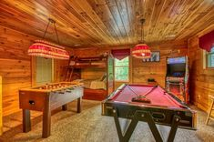 Gone Swimmin' -- The game room has a pool table, air hockey, poker table, foosball, multicade and a set of bunk beds Unique Vacations, Best Family Vacations, Pigeon Forge Cabin Rentals, Smoky Mountains Cabins, Air Hockey, King Bedroom, Pool Table, Game Room, Bunk Beds