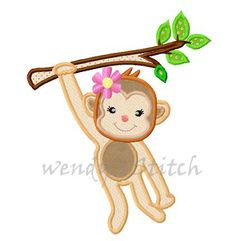 Hanging girl monkey applique machine embroidery by WendysStitch, $1.99