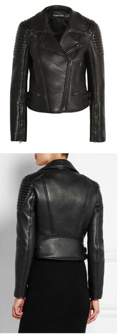 tom ford textured leather motorcycle jacket | fall 2015