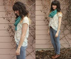 Mint & Lace (by Tonya S.) http://lookbook.nu/look/3354693-Mint-Lace. Love the outfit, lover her hair!