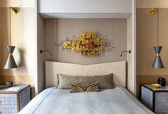 fab bedroom! groovy art and lighting... Parisian Apartment of Jean-Louis Deniot