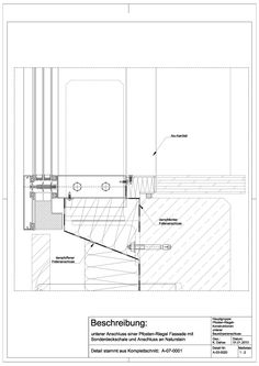 A-03-0020 unterer Anschluss einer Pfosten- Riegel Fassade mit Sonderdeckschale und Anschluss an Naturstein-A-03-0020