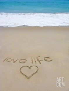 Beach on Fire Island, Ny with the Words 'Love Life' Written in the Sand Photographic Print by Marie Hickman at Art.com