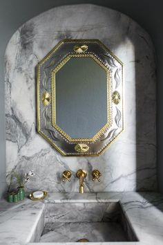 A bathroom's Mexican tin mirror nods to the home's heritage.