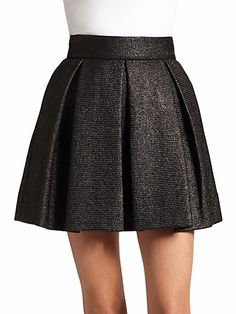 Robert Rodriguez - Rafia Pleated A-Line Skirt - Saks.com