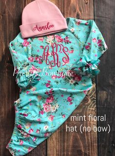 8806ceb1c4bc Coming home outfit girls Monogram gown~Monogramed newborn gown- Rose floral