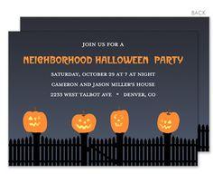 Jack-O-Lanterns on the Fence Halloween Invitations