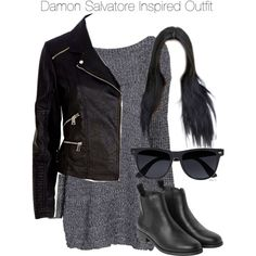 """""""The Vampire Diaries - Damon Salvatore Inspired Outfit"""" by staystronng ❤ liked… Other Outfits, Pretty Outfits, Stylish Outfits, Cute Outfits, Vampire Diaries Outfits, Fashion Tv, Fashion Outfits, Womens Fashion, Female Outfits"""