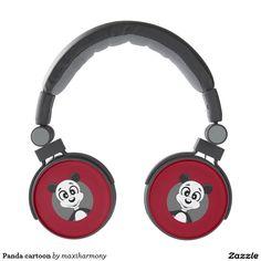 Panda cartoon headphones