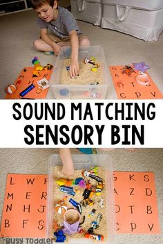 Sound Matching Sensory Activity Looking for a great pre-reading activity? Try making a sound matching bin! An easy way to work on phonemic awareness without a worksheet! A hands-on way to develop reading skills from Busy Toddler. Preschool Phonics, Preschool Learning, Kindergarten Activities, Jolly Phonics Activities, Phonemic Awareness Activities, Learning Toys, Sensory Activities Preschool, Phonics Games For Kids, Phonemic Awareness Kindergarten