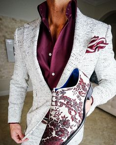 S by Sebastian Platino Tweed Jacket - Herren Mode Mens Fashion Suits, Mens Suits, Fashion Outfits, Fashion Menswear, Fashion Sites, Mode Costume, Designer Suits For Men, Mein Style, Mens Attire
