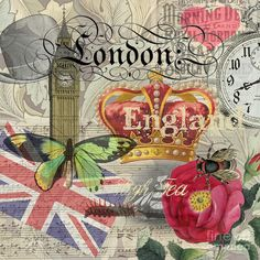 London England Vintage Travel Collage  Digital Art  - London England Vintage Travel Collage  Fine Art Print
