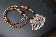 Kuchi inspired necklace  rudraksha bead  by SumertaDesigns on Etsy