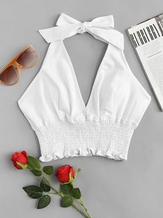 Shop Deep V Neckline Frill Hem Halter Top online. ROMWE offers Deep V Neckline Frill Hem Halter Top & more to fit your fashionable needs. Summer Outfits, Girl Outfits, Casual Outfits, Cute Outfits, Blouse Styles, Blouse Designs, Mode Rockabilly, Cute Tops, Diy Clothes