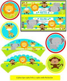 kit imprimible gratis de animales - Buscar con Google Jungle Theme Parties, Safari Theme Party, Jungle Party, Party Themes, 2 Baby, Baby Box, Madagascar Party, Lion Birthday, Animal Party