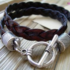 Mens Leather Bracelet , Flat Braided, Double Wrap,