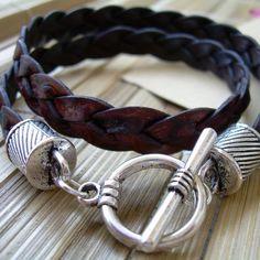 Mens Leather Bracelet , Flat Braided, Double Wrap,