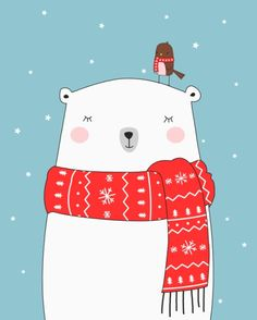 Polar bear&little bird christmas art print the bears! Polar Bear Illustration, Illustration Noel, Winter Illustration, Christmas Illustration, Illustrations, Christmas Drawing, Kids Christmas, Polar Bear Drawing, Cute Polar Bear