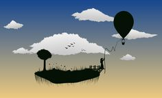 cielo, nubes, isla, árbol, globo, silueta, 1708281530