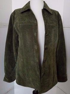 Green Leather Suede Jacket Women's sz M AMI Lined MEDIUM #AMI #BasicJacket #Casual