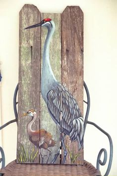 145 00 Sandhill Crane With Hand Painted On Wood By Roseartworks 12 X 25 Ht