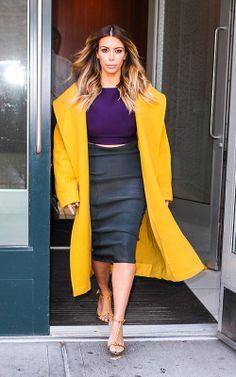 Kim Kardashian- Crop top, yellow coat and pencil skirt