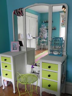 Painted Antique Vanity-Looking for colors to repaint my childhood vanity for my daughter