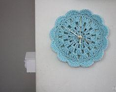 orologio orologio di Centrino aqua blu bambino chrochet per casa, tondo orologio, arredamento casa