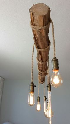 : The hanging lamp in its rustic natural look makes every dining room shine . bring the Dining room Hanging lamp Ihrem jedes dining every hanging homedecorcrafts homedecorikea homedecorwood lamp makes natural Room rustic shine targethomedecor Different Light Bulbs, Leather Living Room Set, Diy Home Decor, Room Decor, Rustic Lighting, Rope Lighting, Lighting Ideas, Mason Jar Lamp, Living Room Sets